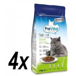 PreVital Naturel granule pro sterilní kočky drůbeží 4 x 1,4kg