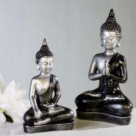 Papillon Soška Meditující Buddha, 29 cm, stříbrná/antracit