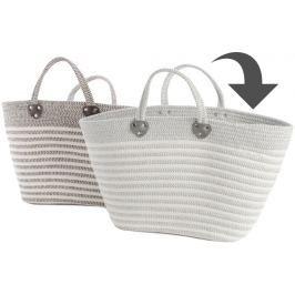 Kaemingk Plážová taška s proužky, světle šedá