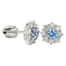 Brilio Silver Stříbrné náušnice s krystaly 436 001 00321 04 - světle modré - 2,15 g stříbro 925/1000