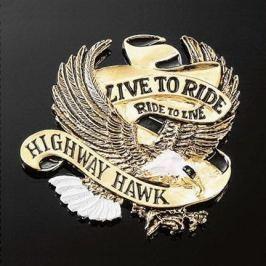 Highway-Hawk emblém samolepící:  LIVE TO RIDE zlatý, 40mm