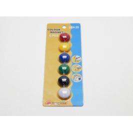 Magnety barevné 20 mm / 6 ks mix barev Nástěnky, tabule
