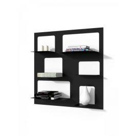 Mørtens Furniture Nástěnný regál / knihovna Libri 3, 90 cm, černá Knihovny, regály, police