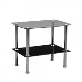 Artenat Odkládací stolek skleněný Zoom, 65 cm, čiré/černé sklo