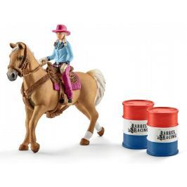 Schleich Osedlaný kůň s kovbojkou 41417