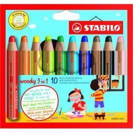 Stabilo Barevné pastelky Woody, 10 barev, maxi, 3v1