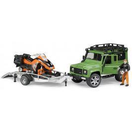 Bruder 2594 Land Rover s valníkem, sněžným skútrem a figurkou