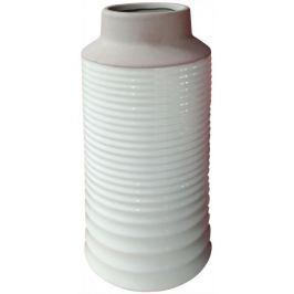 Home Keramická váza bílo hnědá vroubkovaná 19 × 35 cm