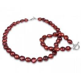 JwL Luxury Pearls Souprava náhrdelníku a náramku z pravých červených perel JL0164 stříbro 925/1000