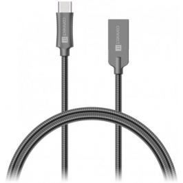 Connect IT CONNECT IT Wirez Steel Knight Kabel (USB-C - USB-A), kovová tmavě šedá , 1 m