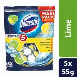 Domestos Power 5 Lime tuhý WC blok 5 x 55 g