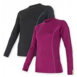 Sensor Merino Wool Active set dámské triko dl.ruk. černá + lila M