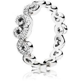 Pandora Romantický srdíčkový prsten 197117CZ (Obvod 50 mm) stříbro 925/1000