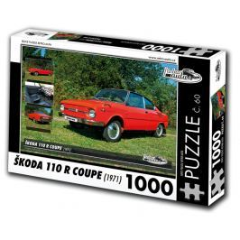 RETRO-AUTA© Puzzle č. 60 - ŠKODA 110 R COUPE (1971) 1000 dílků
