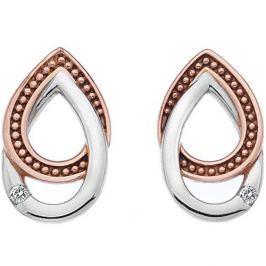 Hot Diamonds Bicolor náušnice s diamanty Chandelier Vintage Oval Rose Gold DE499 stříbro 925/1000