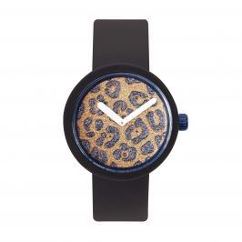 Obag O CLOCK CIFERNÍK GLITTER BLUE/LEOPARD A O CLOCK PÁSEK ČERNÝ Velikost: M (obvod 18 cm)