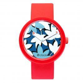 Obag O CLOCK CIFERNÍK FLOWER COBALTO A O CLOCK PÁSEK ČERVENÝ Velikost: M (obvod 18 cm)