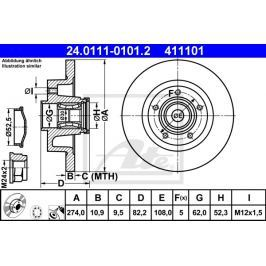 CONTINENTAL TEVES (ATE) P/L brzdový kotouč s ložiskem a ABS senzorem ATE AT 411101