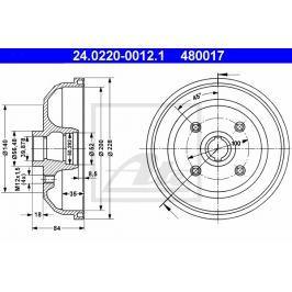 P/L brzdový buben bez ložiska ATE AT 480017
