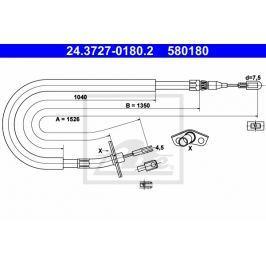 Tazne lanko, parkovaci brzda ATE AT 580180 Brzdové destičky a čelisti