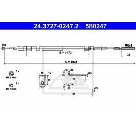 L Tažné lanko, parkovací brzda ATE AT 580247 Auto-moto