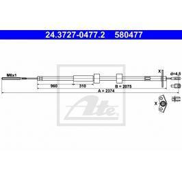 Tazne lanko, parkovaci brzda ATE AT 580477 Brzdové destičky a čelisti