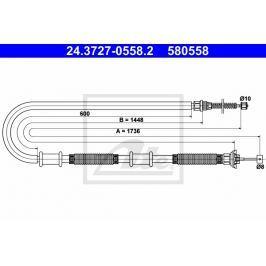 Tažné lanko parkovací brzdy ATE AT 580558 Brzdové destičky a čelisti
