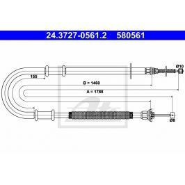 Tažné lanko, parkovací brzda ATE AT 580561 Brzdové destičky a čelisti