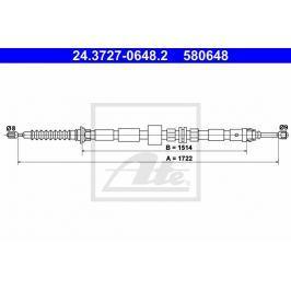 Tažné lanko, parkovací brzda ATE AT 580648 Brzdové destičky a čelisti