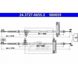 Tazne lanko, parkovaci brzda ATE AT 580655 Brzdové destičky a čelisti