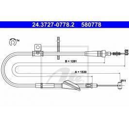 lanko ruční brzdy ATE AT 580778 Auto-moto