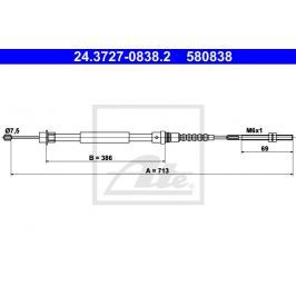 Tazne lanko, parkovaci brzda ATE AT 580838 24.3727-0838.2 ATE Auto-moto