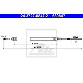 Tažné lanko, parkovací brzda ATE AT 580847 Auto-moto