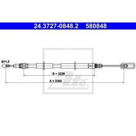 Tazne lanko, parkovaci brzda ATE AT 580848 Brzdové destičky a čelisti