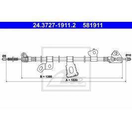 Tazne lanko, parkovaci brzda ATE AT 581911 Brzdové destičky a čelisti