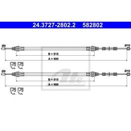Tažné lanko ATE AT 582802 Brzdové destičky a čelisti