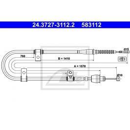 Tazne lanko, parkovaci brzda ATE AT 583112 Brzdové destičky a čelisti