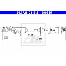 spojkové lanko ATE AT 590315 Auto-moto