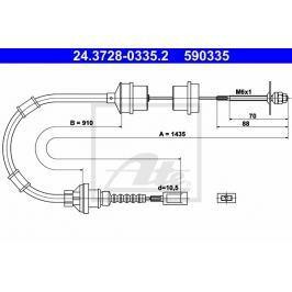 Tazne lanko, ovladani spojky ATE AT 590335 Auto-moto