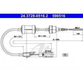 spojkové lanko ATE AT 590516 Auto-moto