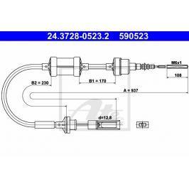 spojkové lanko ATE AT 590523 Auto-moto