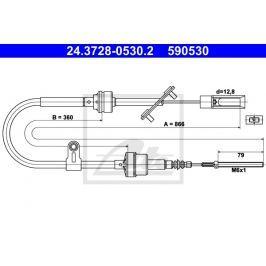 spojkové lanko ATE AT 590530 Auto-moto