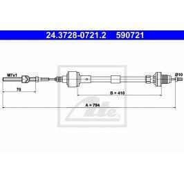 spojkové lanko ATE AT 590721 Auto-moto