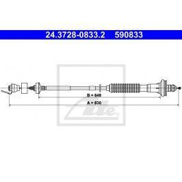 Tažné lanko, ovládání spojky ATE AT 590833 Auto-moto