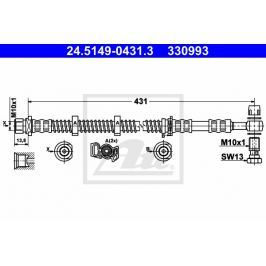 Brzdová hadice ATE AT 330993 Auto-moto