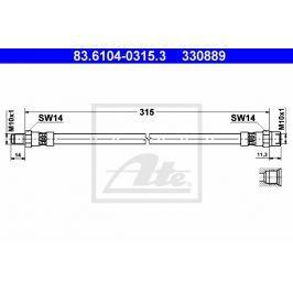 Brzdová hadice ATE AT 330889 Auto-moto