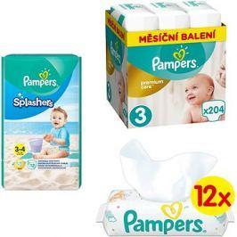 PAMPERS Premium Care vel. 3 Midi (204 ks) + PAMPERS Splashers vel. 3 (12 ks) + PAMPERS Sensitive (12