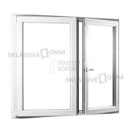 SKLADOVA-OKNA.cz, Dvoukřídlé plastové okno se štulpem PREMIUM, 1450 x 1450 mm, barva bílá