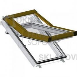 Skladova-okna Plastové střešní okno Premium - barva ořech hnědé oplechování, 55cm x 78cm