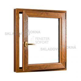 SKLADOVA-OKNA.cz, Jednokřídlé plastové okno PREMIUM, otvíravo-sklopné pravé, 800 x 1000 mm, barva barva bílá/zlatý dub